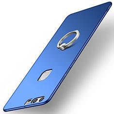 Custodia Plastica Rigida Cover Opaca con Anello Supporto A01 per Huawei P9 Plus Blu