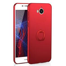 Custodia Plastica Rigida Cover Opaca con Anello Supporto A01 per Huawei Y6 (2017) Rosso