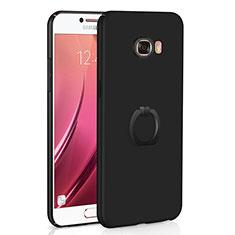 Custodia Plastica Rigida Cover Opaca con Anello Supporto A01 per Samsung Galaxy C7 SM-C7000 Nero