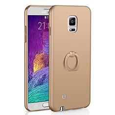 Custodia Plastica Rigida Cover Opaca con Anello Supporto A01 per Samsung Galaxy Note 4 Duos N9100 Dual SIM Oro