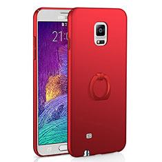 Custodia Plastica Rigida Cover Opaca con Anello Supporto A01 per Samsung Galaxy Note 4 Duos N9100 Dual SIM Rosso