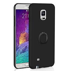 Custodia Plastica Rigida Cover Opaca con Anello Supporto A01 per Samsung Galaxy Note 4 SM-N910F Nero