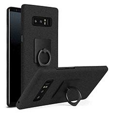Custodia Plastica Rigida Cover Opaca con Anello Supporto A01 per Samsung Galaxy Note 8 Duos N950F Nero