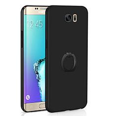 Custodia Plastica Rigida Cover Opaca con Anello Supporto A01 per Samsung Galaxy S6 Edge SM-G925 Nero