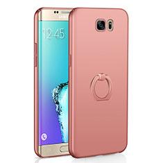 Custodia Plastica Rigida Cover Opaca con Anello Supporto A01 per Samsung Galaxy S6 Edge SM-G925 Oro Rosa