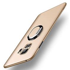 Custodia Plastica Rigida Cover Opaca con Anello Supporto A01 per Samsung Galaxy S9 Oro