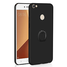 Custodia Plastica Rigida Cover Opaca con Anello Supporto A01 per Xiaomi Redmi Note 5A High Edition Nero