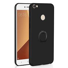 Custodia Plastica Rigida Cover Opaca con Anello Supporto A01 per Xiaomi Redmi Note 5A Pro Nero