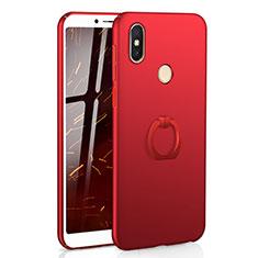 Custodia Plastica Rigida Cover Opaca con Anello Supporto A01 per Xiaomi Redmi Y2 Rosso