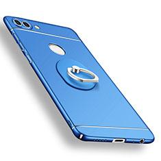Custodia Plastica Rigida Cover Opaca con Anello Supporto A02 per Huawei P Smart Blu