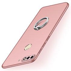 Custodia Plastica Rigida Cover Opaca con Anello Supporto A02 per Huawei Y7 (2018) Oro Rosa