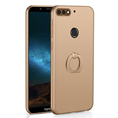 Custodia Plastica Rigida Cover Opaca con Anello Supporto A03 per Huawei Honor 7C Oro