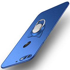 Custodia Plastica Rigida Cover Opaca con Anello Supporto A04 per Huawei Enjoy 8 Blu
