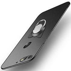 Custodia Plastica Rigida Cover Opaca con Anello Supporto A04 per Huawei Enjoy 8 Nero