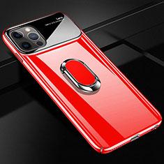 Custodia Plastica Rigida Cover Opaca con Magnetico Anello Supporto A01 per Apple iPhone 12 Pro Max Rosso