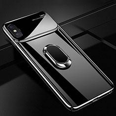 Custodia Plastica Rigida Cover Opaca con Magnetico Anello Supporto A01 per Apple iPhone X Nero