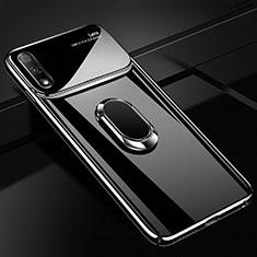 Custodia Plastica Rigida Cover Opaca con Magnetico Anello Supporto A01 per Huawei Enjoy 10 Nero