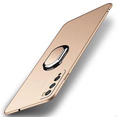 Custodia Plastica Rigida Cover Opaca con Magnetico Anello Supporto A01 per Huawei Enjoy 20 Pro 5G Oro