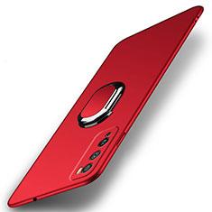 Custodia Plastica Rigida Cover Opaca con Magnetico Anello Supporto A01 per Huawei Enjoy 20 Pro 5G Rosso