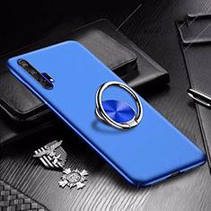 Custodia Plastica Rigida Cover Opaca con Magnetico Anello Supporto A01 per Huawei Honor 20 Pro Blu
