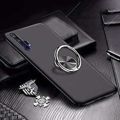 Custodia Plastica Rigida Cover Opaca con Magnetico Anello Supporto A01 per Huawei Honor 20 Pro Nero