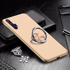 Custodia Plastica Rigida Cover Opaca con Magnetico Anello Supporto A01 per Huawei Honor 20 Pro Oro