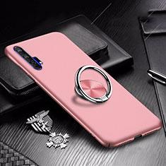 Custodia Plastica Rigida Cover Opaca con Magnetico Anello Supporto A01 per Huawei Honor 20 Pro Oro Rosa