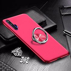 Custodia Plastica Rigida Cover Opaca con Magnetico Anello Supporto A01 per Huawei Honor 20 Pro Rosso