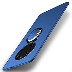 Custodia Plastica Rigida Cover Opaca con Magnetico Anello Supporto A01 per Huawei Mate 40 Blu