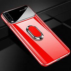 Custodia Plastica Rigida Cover Opaca con Magnetico Anello Supporto A01 per Huawei P30 Rosso