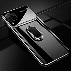 Custodia Plastica Rigida Cover Opaca con Magnetico Anello Supporto A01 per Huawei P40 Lite Nero