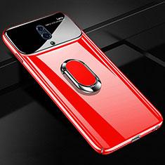 Custodia Plastica Rigida Cover Opaca con Magnetico Anello Supporto A01 per Oppo Realme X Rosso
