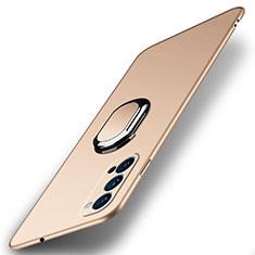 Custodia Plastica Rigida Cover Opaca con Magnetico Anello Supporto A01 per Oppo Reno4 5G Oro