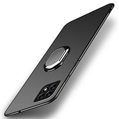Custodia Plastica Rigida Cover Opaca con Magnetico Anello Supporto A01 per Oppo Reno4 SE 5G Nero