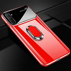 Custodia Plastica Rigida Cover Opaca con Magnetico Anello Supporto A01 per Realme X2 Rosso