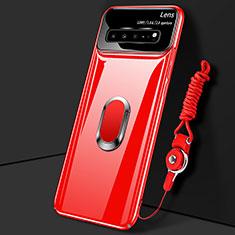 Custodia Plastica Rigida Cover Opaca con Magnetico Anello Supporto A01 per Samsung Galaxy S10 5G SM-G977B Rosso
