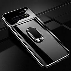 Custodia Plastica Rigida Cover Opaca con Magnetico Anello Supporto A01 per Samsung Galaxy S10 Plus Nero