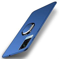 Custodia Plastica Rigida Cover Opaca con Magnetico Anello Supporto A01 per Vivo X60 5G Blu