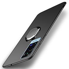 Custodia Plastica Rigida Cover Opaca con Magnetico Anello Supporto A01 per Vivo X60 Pro 5G Nero