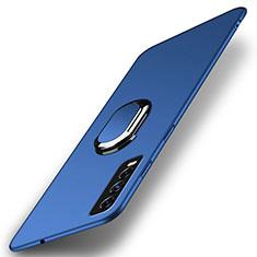 Custodia Plastica Rigida Cover Opaca con Magnetico Anello Supporto A01 per Vivo Y12s Blu