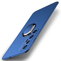 Custodia Plastica Rigida Cover Opaca con Magnetico Anello Supporto A01 per Xiaomi Mi 10 Ultra Blu