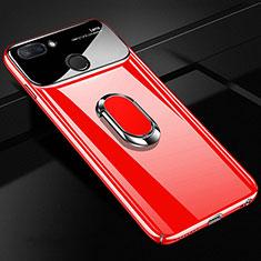 Custodia Plastica Rigida Cover Opaca con Magnetico Anello Supporto A01 per Xiaomi Mi 8 Lite Rosso