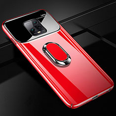 Custodia Plastica Rigida Cover Opaca con Magnetico Anello Supporto A01 per Xiaomi Redmi 10X Pro 5G Rosso