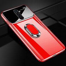 Custodia Plastica Rigida Cover Opaca con Magnetico Anello Supporto A02 per Oppo Reno Ace Rosso
