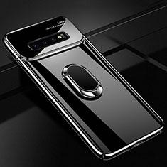 Custodia Plastica Rigida Cover Opaca con Magnetico Anello Supporto A02 per Samsung Galaxy S10 Nero