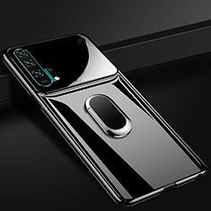 Custodia Plastica Rigida Cover Opaca con Magnetico Anello Supporto P01 per Huawei Honor 20 Pro Nero