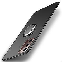 Custodia Plastica Rigida Cover Opaca con Magnetico Anello Supporto P01 per Samsung Galaxy Note 20 5G Nero
