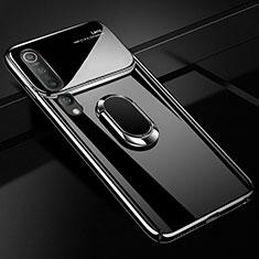 Custodia Plastica Rigida Cover Opaca con Magnetico Anello Supporto P01 per Xiaomi Mi 10 Nero
