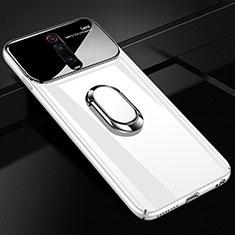 Custodia Plastica Rigida Cover Opaca con Magnetico Anello Supporto P01 per Xiaomi Mi 9T Bianco