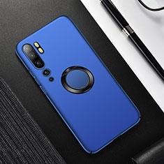 Custodia Plastica Rigida Cover Opaca con Magnetico Anello Supporto P01 per Xiaomi Mi Note 10 Blu